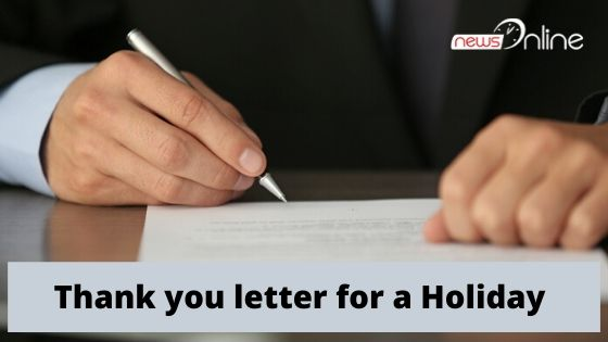 Thank you letter for a Holiday