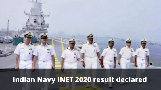 Indian Navy INET 2020 result declared