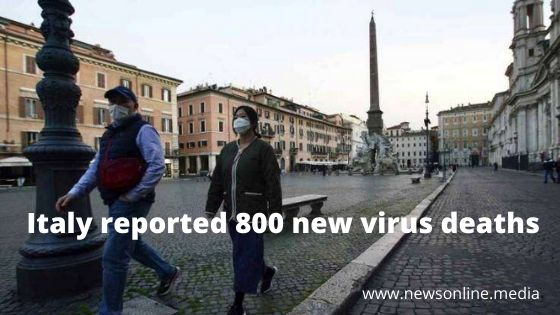 Italy reported 800 new virus deaths