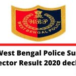 WB Police Sub Inspector Result 2020 declared