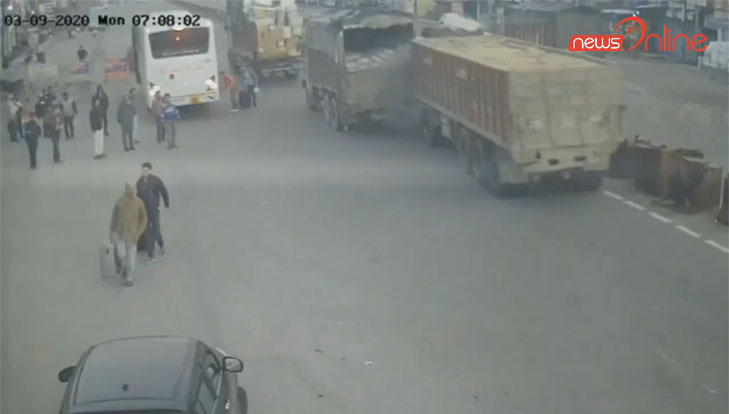 cctv footage surfacing of three truck collision