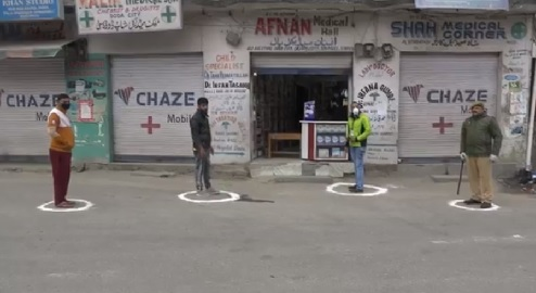 encircle standing areas outside pharmaceutical shops