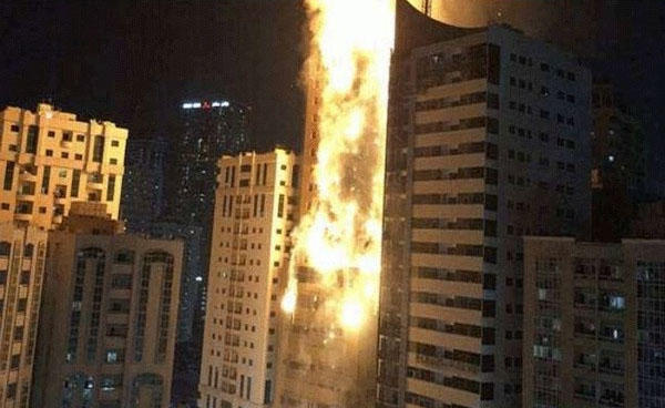 A major fire broke out in Sharjah