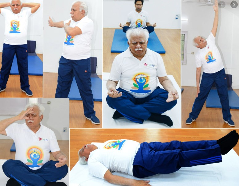 International Yoga Day' Haryana Chief Minister, Mr Manohar Lal, Performed Yoga at his Home