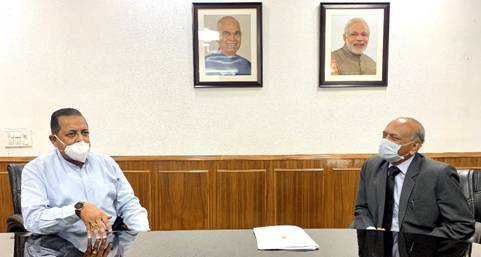 Lieutenant Governor of Ladakh, R K Mathur today called on Union Minister of State (Independent Charge), Development of North Eastern Region (DoNER) MoS PMO, Personnel, Public Grievances, Pensions, Atomic Energy and Space