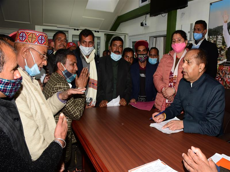 A deputation of Gram Panchayat Kau of Mandi district call on Chief Minister Sh Jai Ram Thakur at Shimla today.