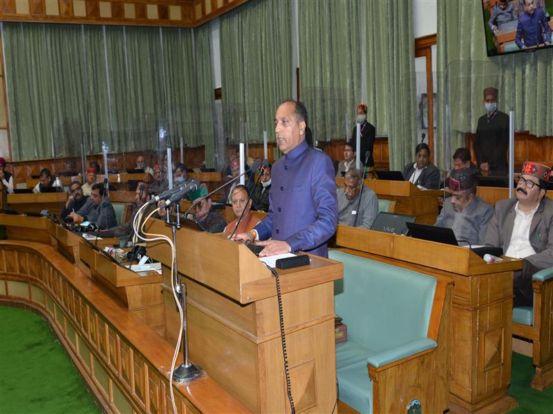 Chief Minister Jai Ram Thakur presenting the Annual Budget for the year 2021-22 in HP Vidhan Sabha on 6 March 2021.