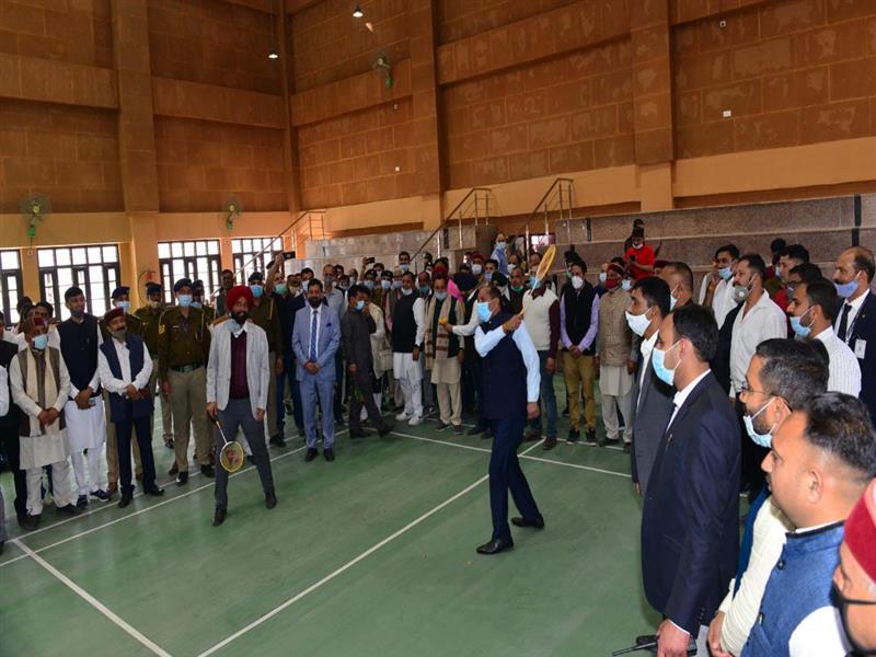Chief Minister Shri Jai Ram Thakur inaugurating the indoor stadium at baddi on 28th feb.2021.