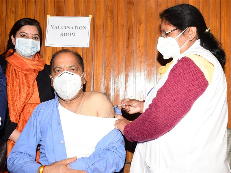 Chief Minister Jai Ram Thakur took his first dose of COVID-19 vaccine at Vidhan Sabha complex here today under second phase of vaccination.