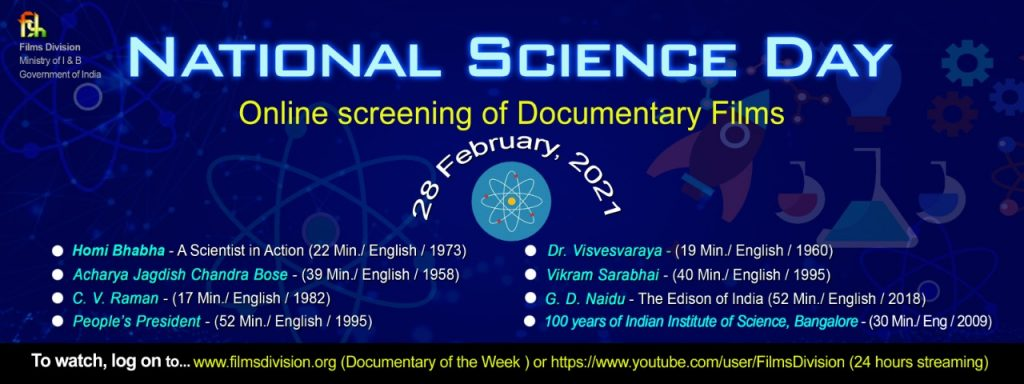 Films on Indian Scientists being streamed on National Science Day
