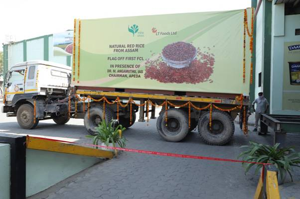 First export consignments of 'red rice' from Assam to the USA flagged off