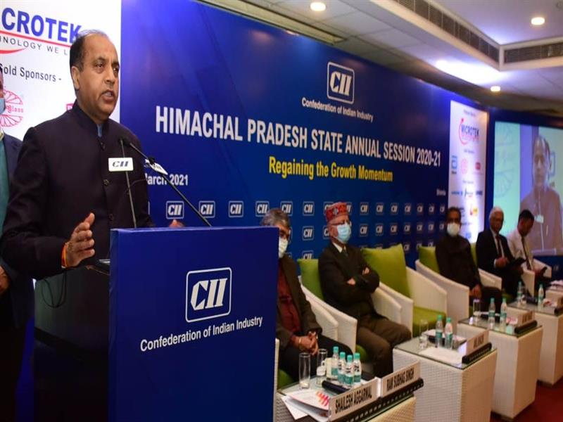 While presiding over the Himachal Pradesh State Annual Session  2020-21 of CII Himachal Pradesh here today, Chief Minister Jai Ram Thakur said that Himachal Pradesh
