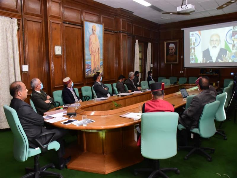 Prime Minister Narendra Modi while virtually reviewing the situation of Covid-19 and progress in vaccination campaign in the country with the Chief Ministers of States