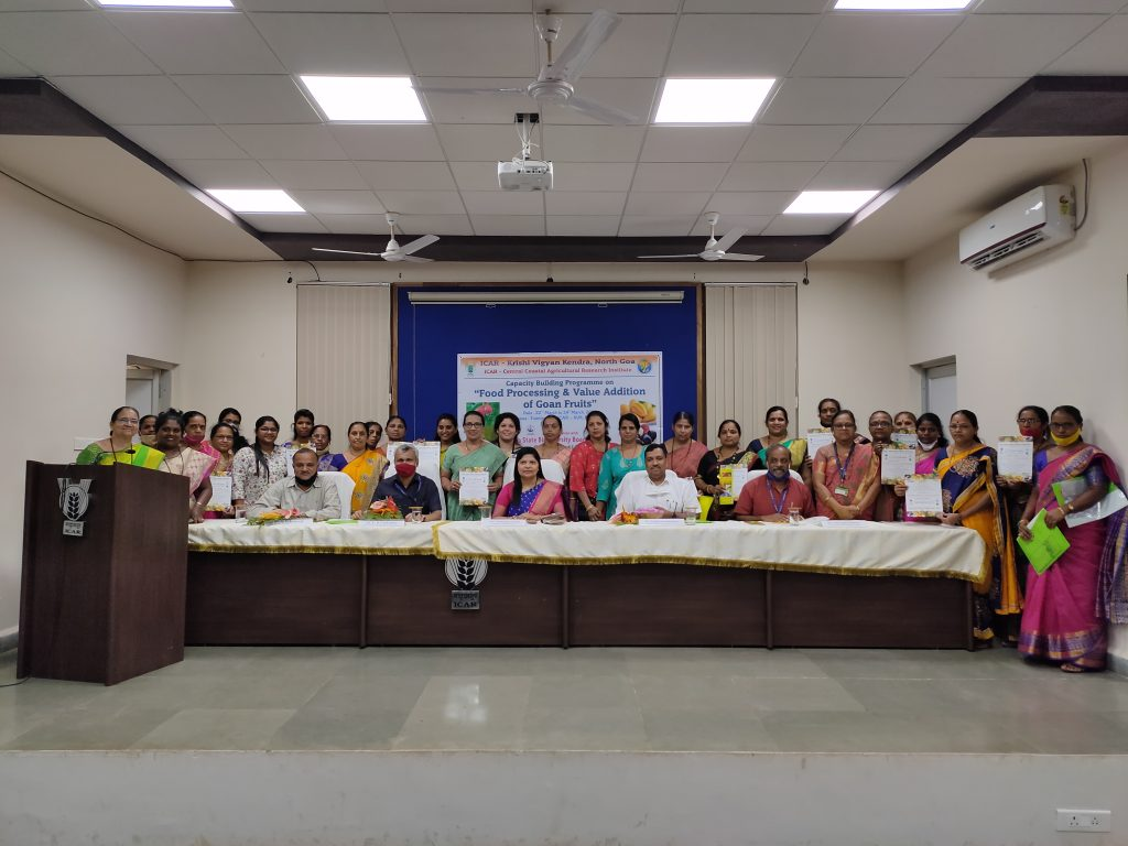Three day Capacity Building Programme on Food Processing and Value Addition of Goan Fruits