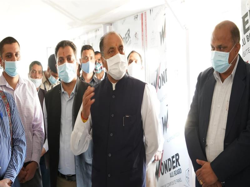 Chief Minister Shri Jai Ram Thakur inspecting and reviewing the ongoing construction work
