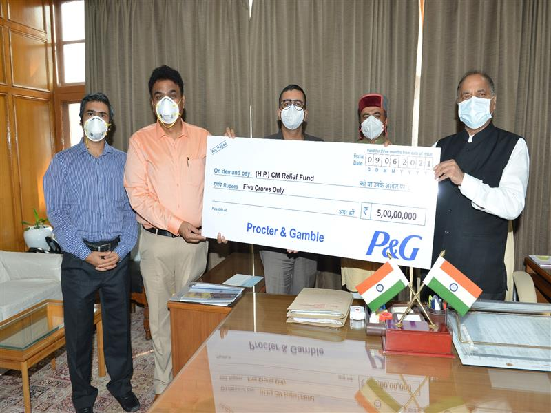 Chief Minister Jai Ram Thakur was presented a cheque of Rs. five crore by South Asia Head Sachan Saini, Senior Manager and Head Government