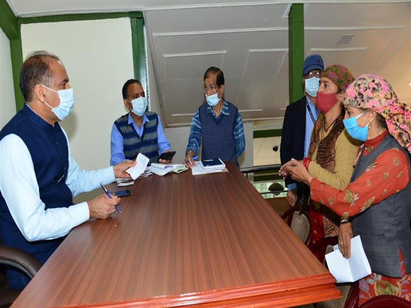 Chief Minister Jai Ram Thakur listening to public grievances at Shimla today.