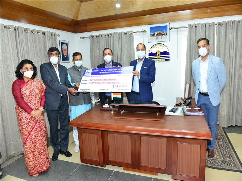 Chief Minister Jai Ram Thakur was presentedcheques of Rs. 35.50 lakh as dividend, Rs. 21 lakh as contribution towards Chief Minister Relief Fund and Rs. Five lakh as contribution