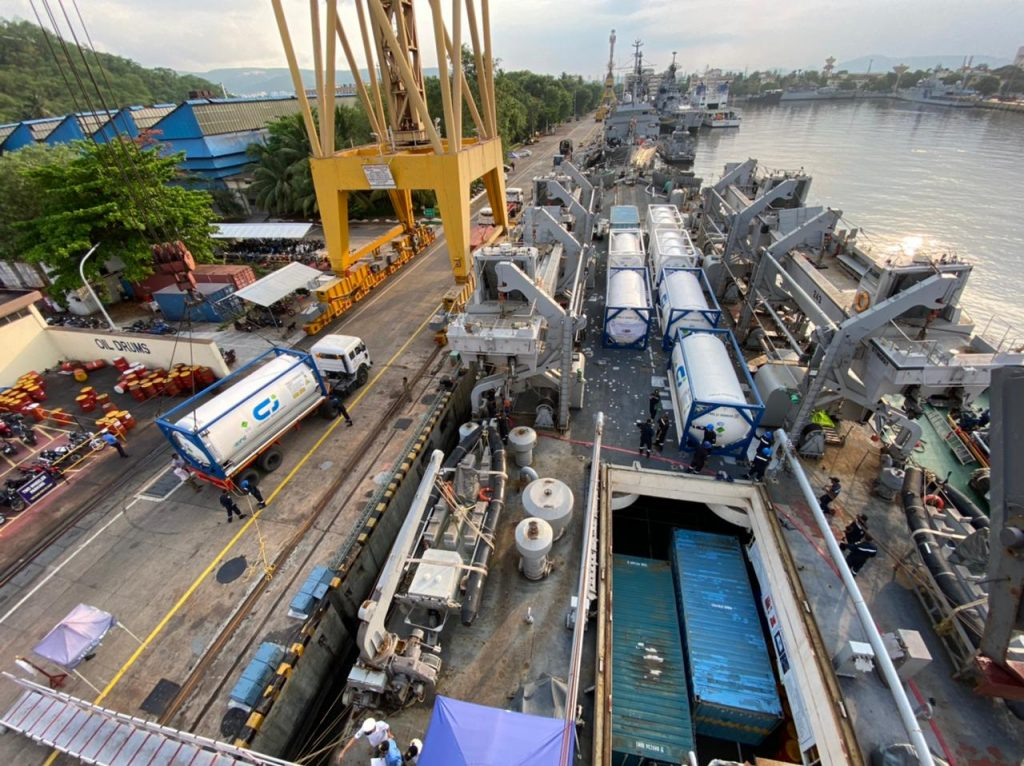 INS Airavat arrives at Visakhapatnam with COVID Relief Material from Vietnam and Singapore