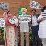 दिल्ली: शिरोमणि अकाली दल ने किसानों के मुद्दे पर संसद में प्रदर्शन किया।