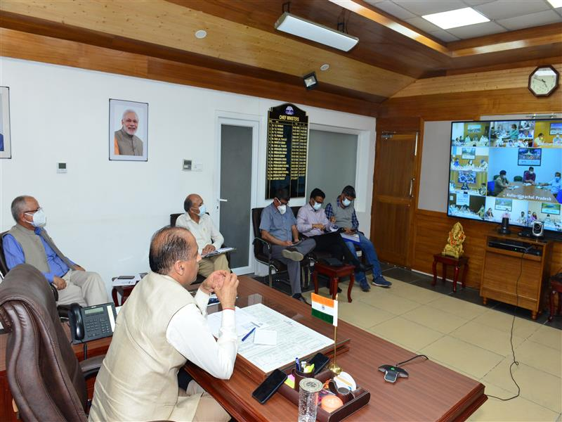 Presiding over the video conference meeting with the Deputy Commissioners, Superintendents of Police and Chief Medical Officers from Shimla today to review the situation of Covid-19