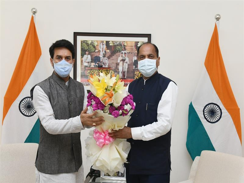 Chief Minister Jai Ram Thakur called on Union Minister for Information and Broadcasting, Youth Affairs and Sports Anurag Singh Thakur at New Delhi today.