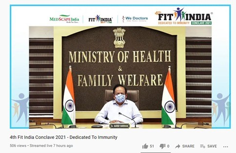 Dr. Harsh Vardhan addresses 4th Fit India Conclave 2021 on National Doctors Day