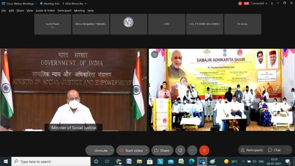 Minister of Social Justice and Empowerment Shri ThaawarchandGehlot virtually inaugurates
