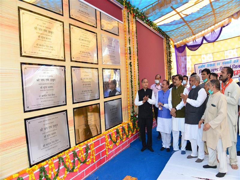 Chief Minister Jai Ram Thakur during his one day tour to Pachhad and Shillai Vidhan areas of Sirmaur district today inaugurated and laid foundation stones of developmental projects
