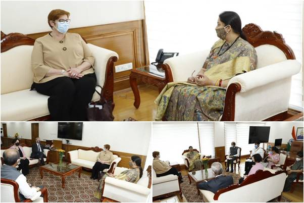 Union Minister for Women and Child Development Smt Smriti Zubin Irani meets with Ms. Marise Payne, Foreign Minister and Minister for Women of Australia